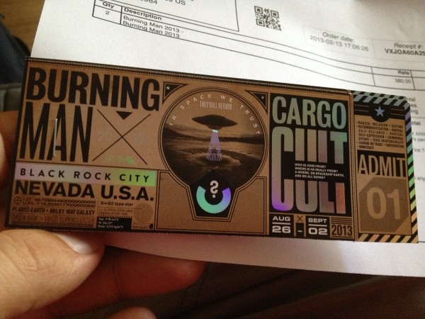 2013 Burning Man ticket