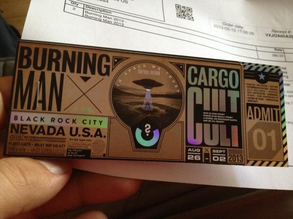 2013 Burning Man ticket